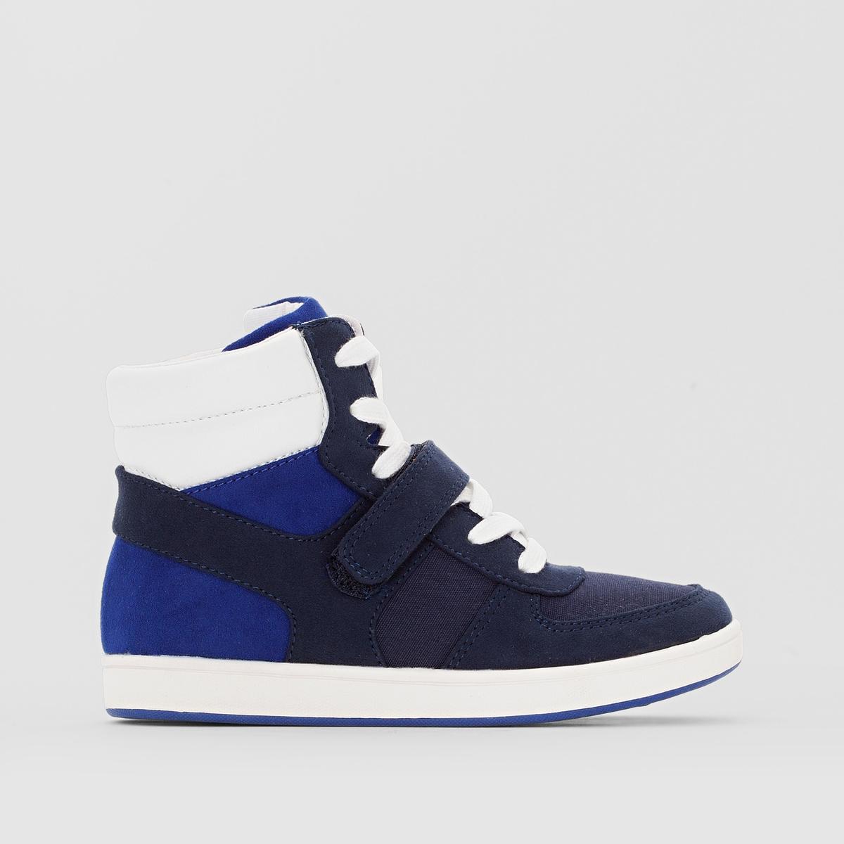 Кеды синтетическиеДетали  •  Кеды высокие •  Спортивный стиль •  Плоский каблук •  Застежка : шнуровкаСостав и уход  •  Верх 100% синтетический материал •  Подкладка 100% хлопок<br><br>Цвет: синий<br>Размер: 27.32.34.40.33.26