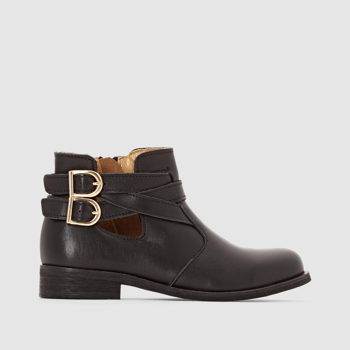 Ботильоны кожаные с ремешкамиКрасивый вырез с 2 ремешками и золотыми пряжками для модного вида: элегантные и модные ботильоны, которые понравятся фанатам стиля!<br><br>Цвет: черный
