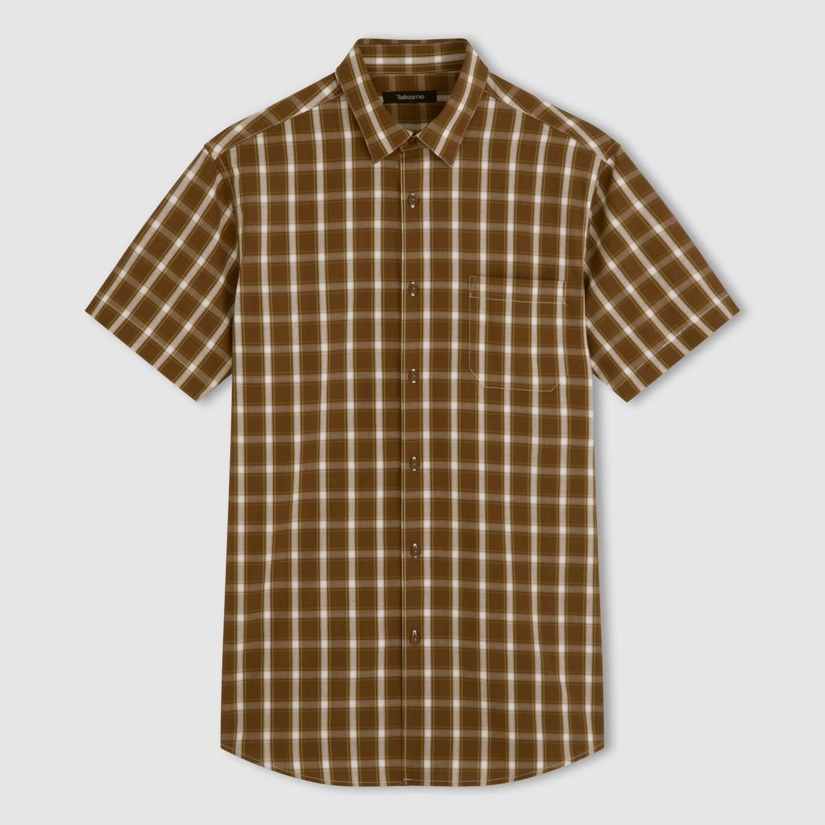 Рубашка с короткими рукавами, 100% хлопкаМодель в клетку. Короткие рукава. 1 накладной нагрудный карман. 2 складки сзади для большего комфорта. Свободные уголки воротника. 100% хлопка из цветных нитей. Длина 85 см. Обратите внимание, что бренд Taillissime создан для высоких, крупных мужчин с тенденцией к полноте. Чтобы узнать подходящий вам размер, сверьтесь с таблицей больших размеров на сайте.<br><br>Цвет: каштановый / зеленый<br>Размер: 45/46