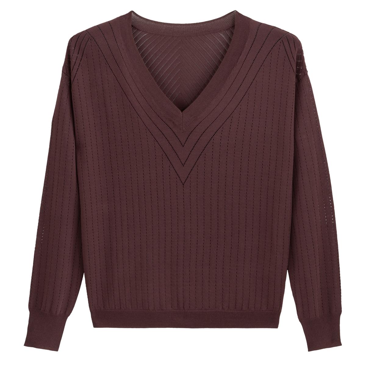 Jersey con cuello de pico de punto fino calado