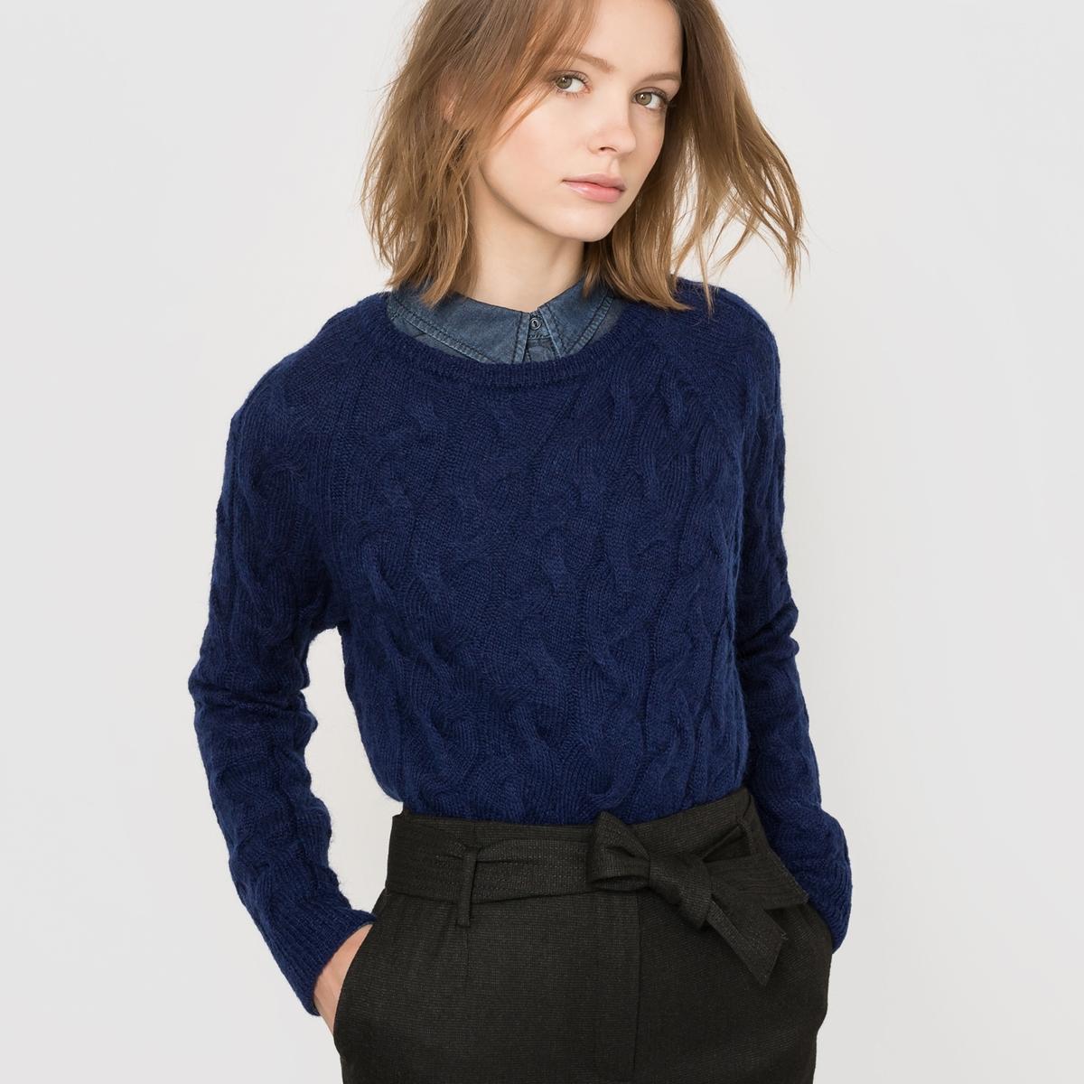 Пуловер с узором косы, шерсть/мохер