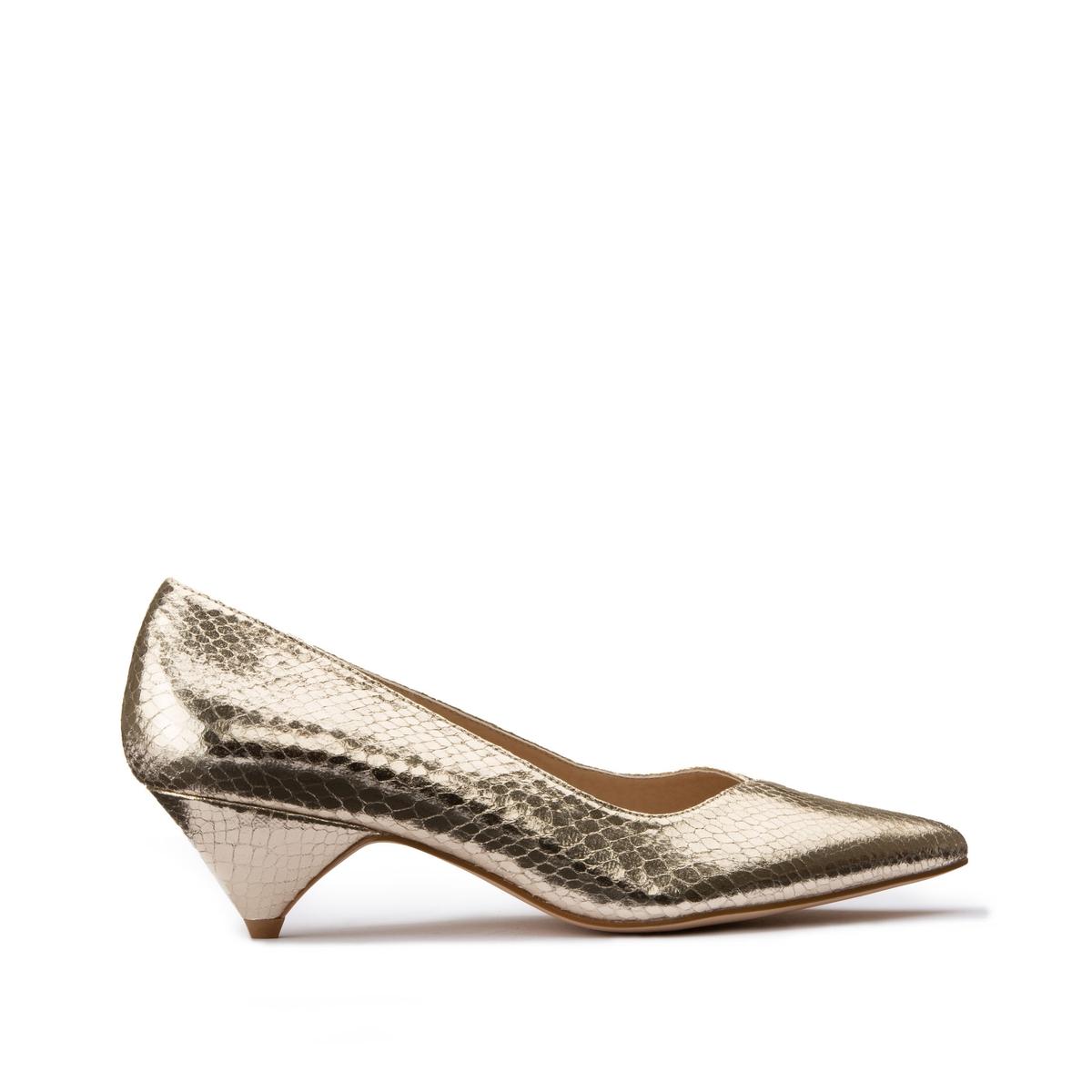 Туфли La Redoute С металлическим блеском на среднем заостренном каблуке 38 золотистый туфли indiana туфли на среднем каблуке