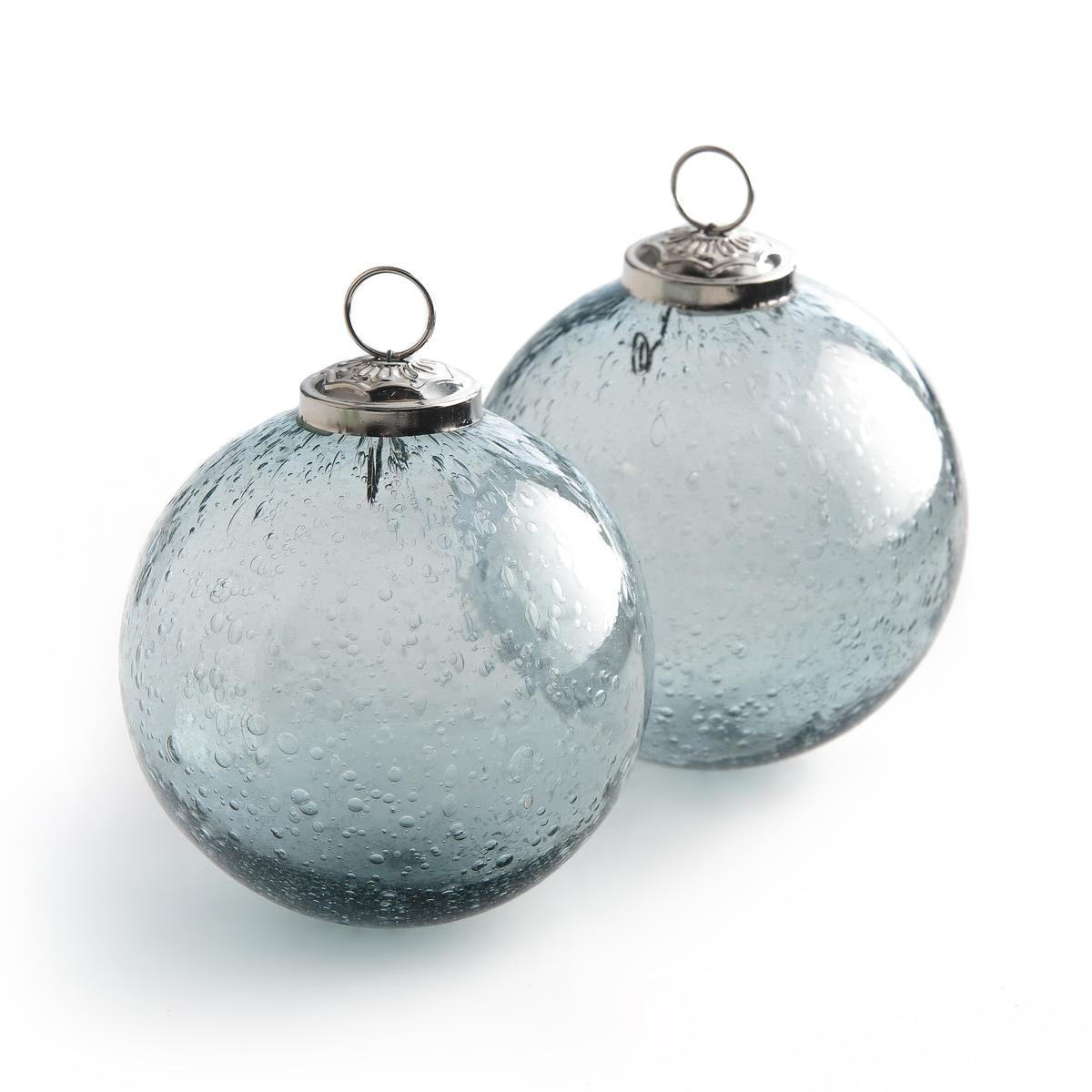 Шар елочный из стекла ?10 см Edinia (комплект из 2)Описание:2 елочных шара из стекла Edinia. Шары выполнены из дутого стекла с пузырьками, они придадут вашей ели изысканности.      Крючок из металла, веревочка не поставляется. Размеры : Ш10 x В11,5 см. Комплект из 2. Сочетайте с шарами Edinia ?7,5 см, которые вы найдете на нащем сайте.<br><br>Цвет: зеленый,синий индиго