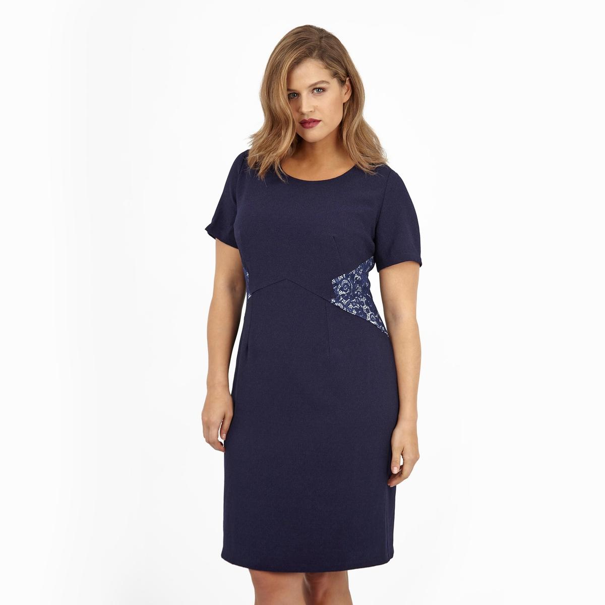 ПлатьеПлатье с короткими рукавами LOVEDROBE. Красивое кружево по бокам. 100% полиэстер.<br><br>Цвет: синий<br>Размер: 58/60 (FR) - 64/66 (RUS)