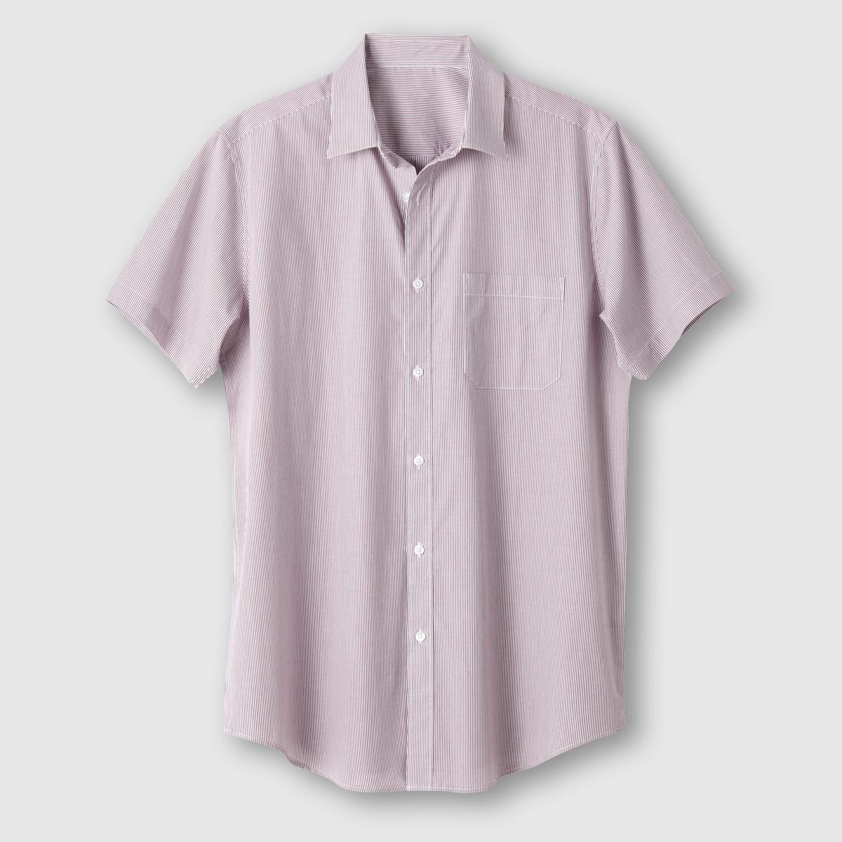 Рубашка с короткими рукавами, рост 3 (свыше 1,87 м)Поплин, 100% хлопок. Рост 3 (при росте свыше 1,87 м) : длина рубашки 87 см, длина рукава 24 см.<br><br>Цвет: в полоску бордовый/белый<br>Размер: 51/52
