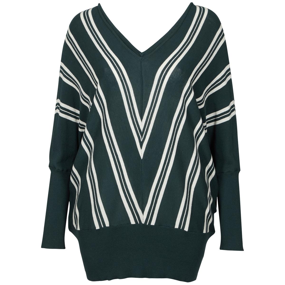 ПуловерПуловер ZIZZI.  V-образный вырез и широкий край в рубчик по низу и на рукавах . 100% хлопка..<br><br>Цвет: зеленый