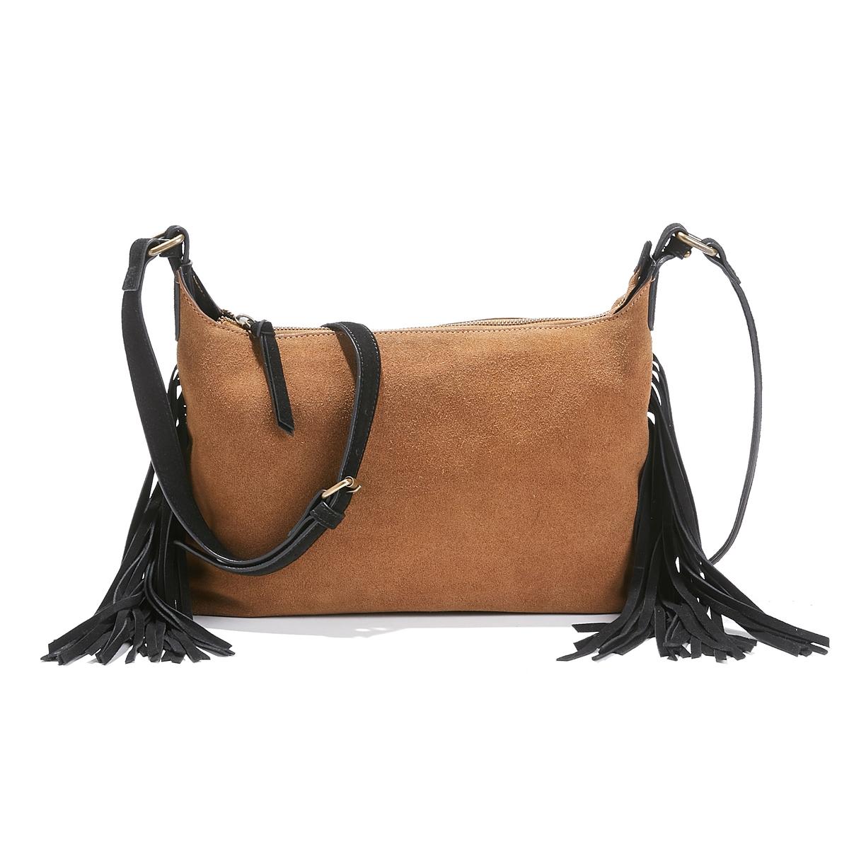 Двухцветная сумка из спилка с помпонами