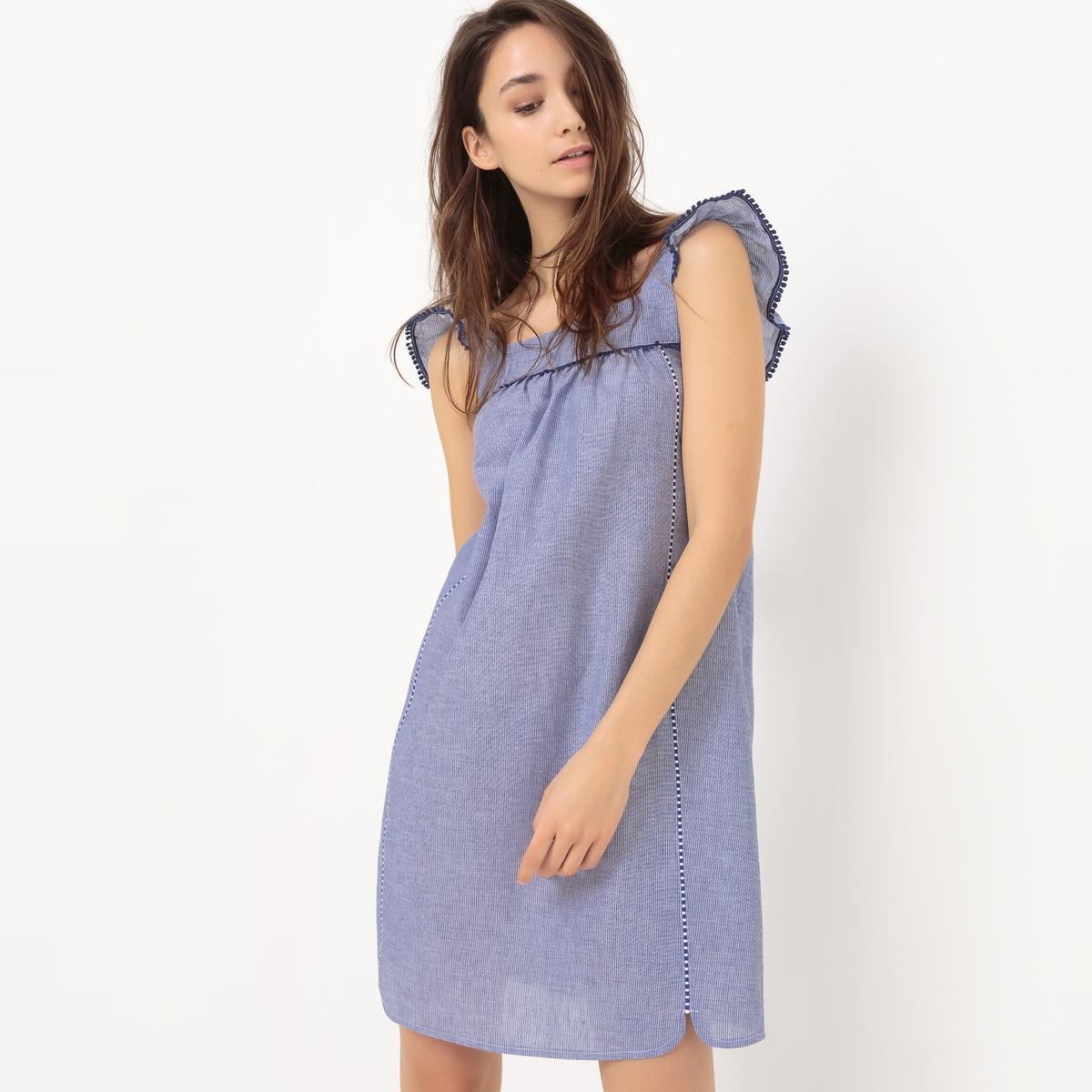 Платье из ткани шамбре, с короткими рукавами и воланамиМатериал : 100% хлопка.       Длина рукава : Без рукавов       Форма воротника : без воротника      Покрой платья : платье прямого покроя    Рисунок : Однотонная модель       Особенность платья : волан      Длина платья : до колен<br><br>Цвет: синий шамбре<br>Размер: 46 (FR) - 52 (RUS)