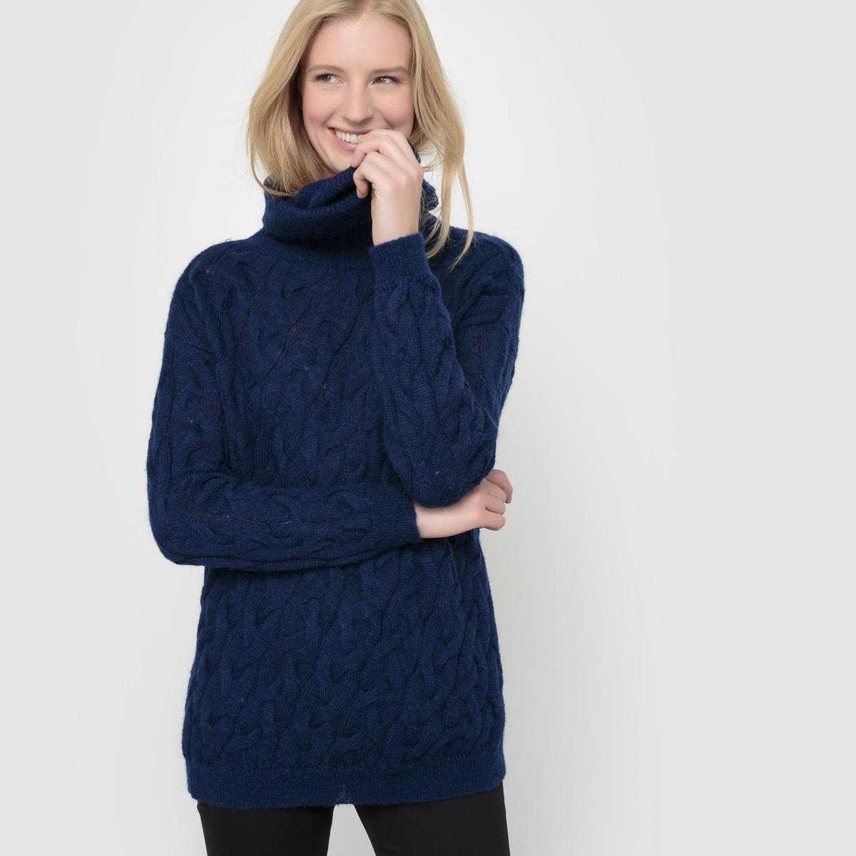 Пуловер-водолазка, трикотаж с узором косы, шерсть/мохер La Redoute Collections