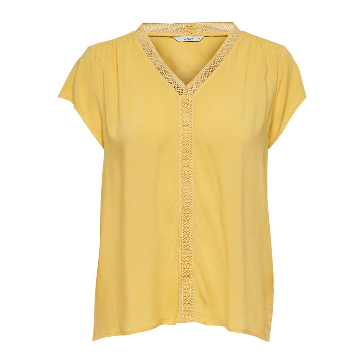 Блузка La Redoute С короткими рукавами и V-образным вырезом 36 (FR) - 42 (RUS) желтый блузка la redoute с цветочным принтом и v образным вырезом 42 fr 48 rus красный