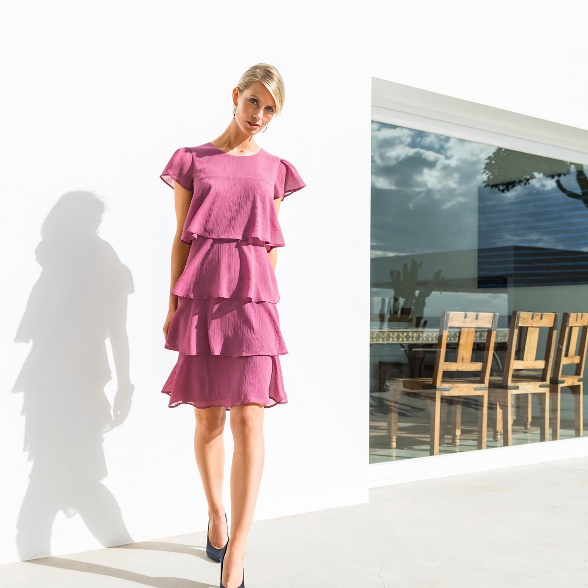 Imagen principal de producto de Vestido con volante de crepé arrugado - Anne weyburn