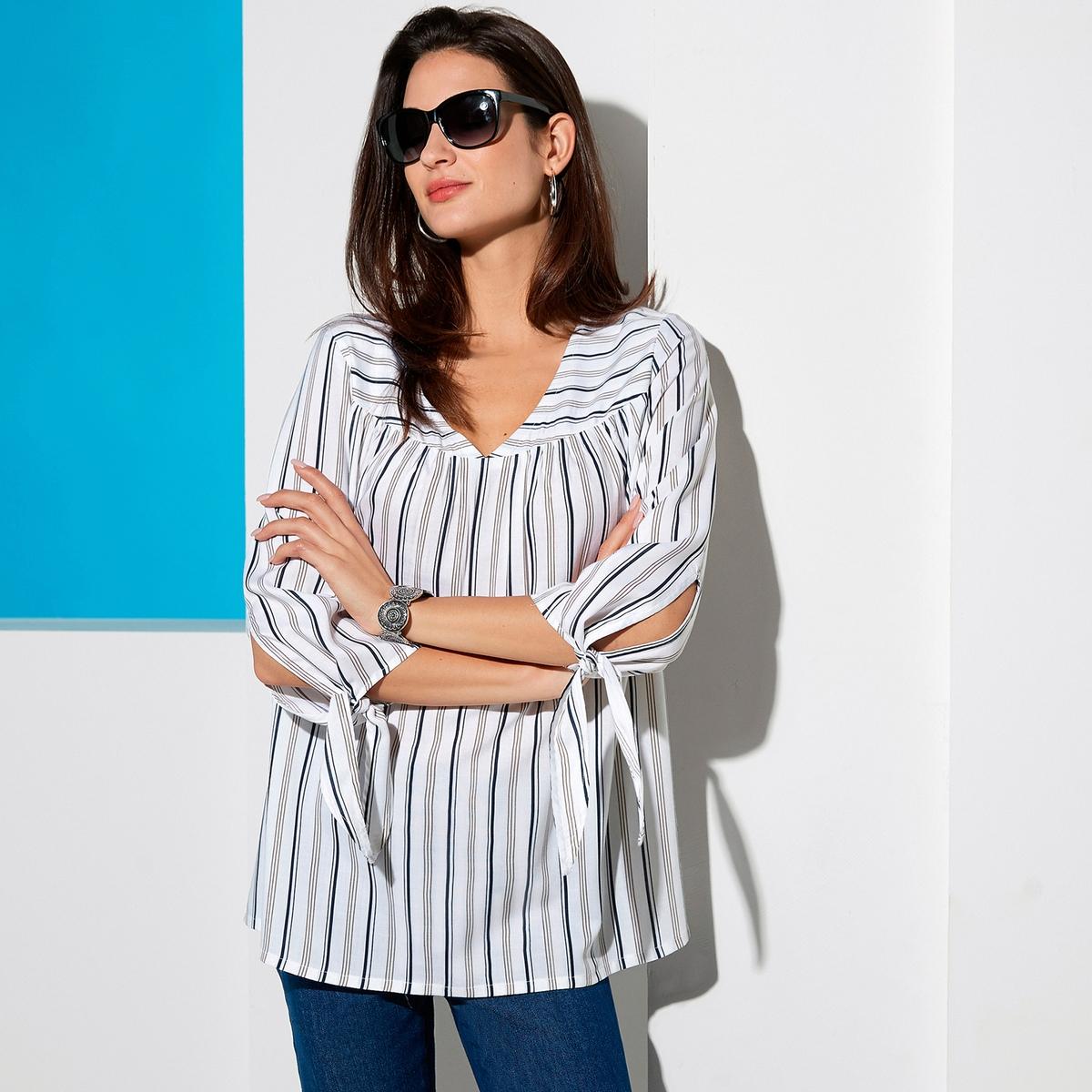 Imagen principal de producto de Blusa a rayas con cuello de pico y mangas 3/4 - Anne weyburn