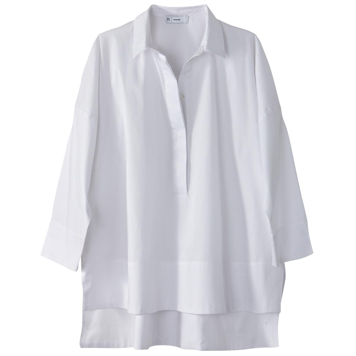Блузка-поло, рукава с разрезами