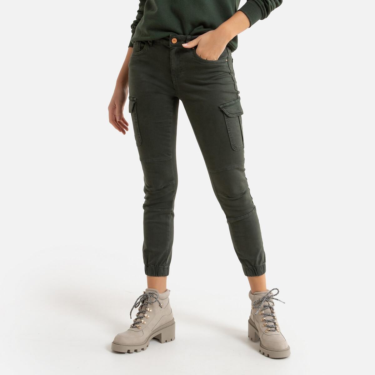 Брюки-скинни LaRedoute Эффект карго длина 30 36 (FR) - 42 (RUS) зеленый брюки скинни la redoute эффект карго длина 30 38 fr 44 rus зеленый