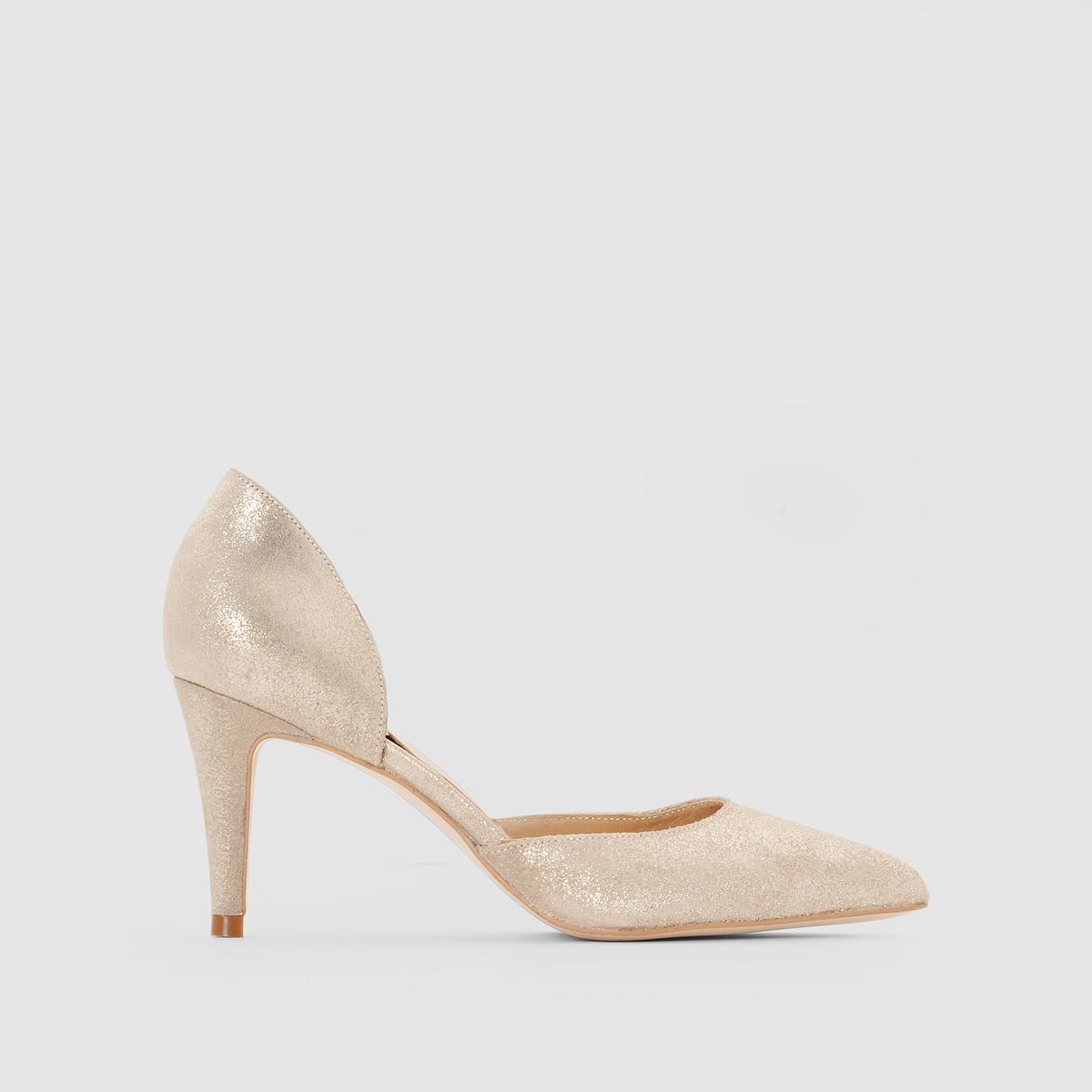 Туфли кожаные на каблуке, ADNETПодкладка: кожа.    Стелька: кожа.       Подошва: эластомер.       Форма каблука: шпилька.Мысок: острый.Застежка: без застежки.<br><br>Цвет: Платиновый<br>Размер: 37