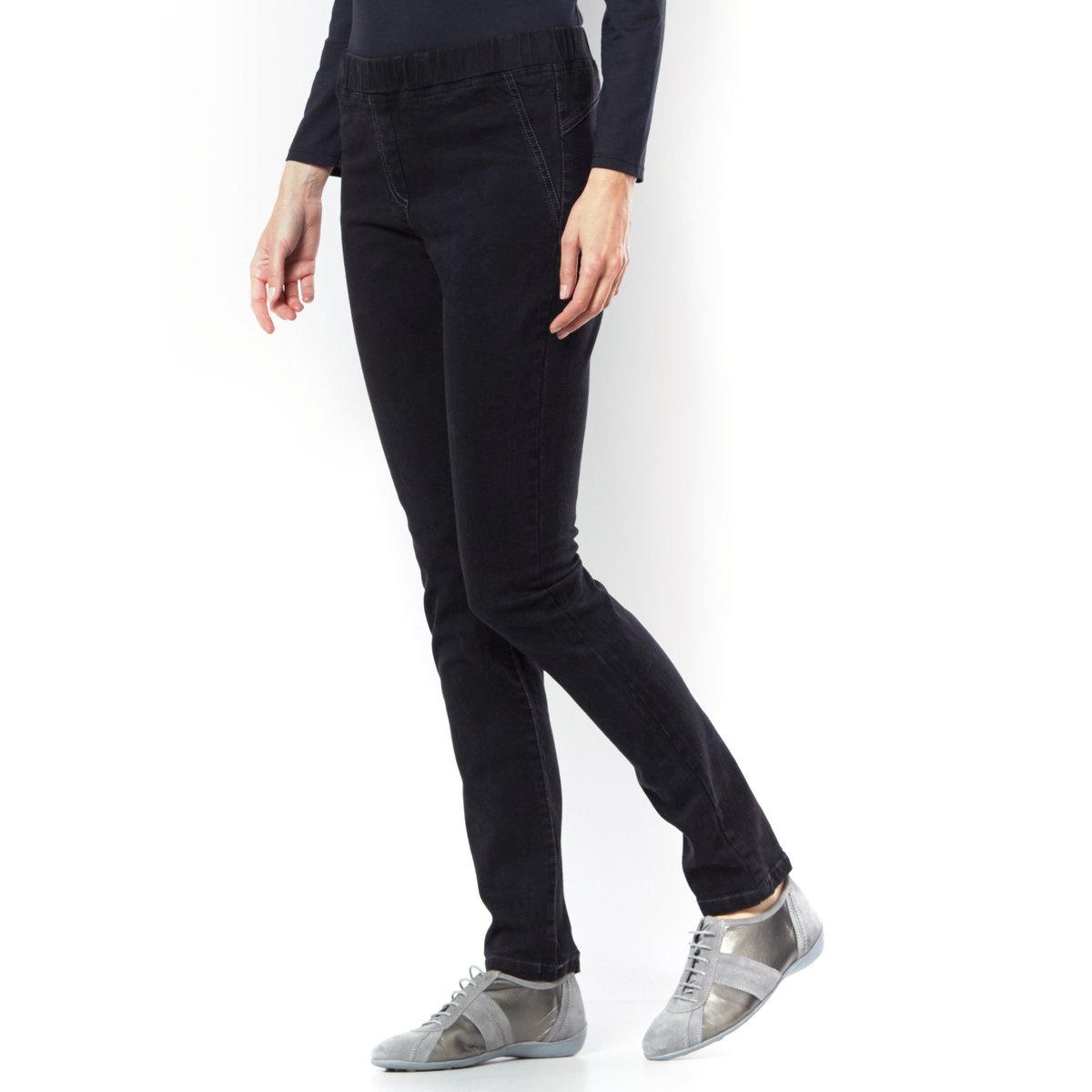 Джеггинсы без застежкиСтиль джинсов и комфорт леггинсов. Эластичный пояс. Ложные итальянские карманы. Ложная планка застежки. Накладные карманы с заклепками сзади. Длина по внутр. 78 см, ширина по низу 16 см. Для варианта в серо-синем цвете: деним стретч, 88% хлопка, 9% эластомультиэстра, 3% эластана, для варианта в черном цвете: 98% хлопка, 2% эластана.<br><br>Цвет: черный
