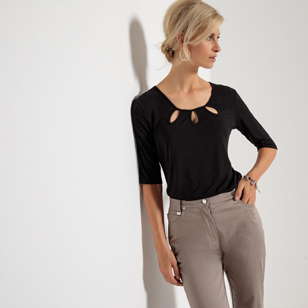 Imagen adicional 3 de producto de Camiseta con cuello redondo y escote fantasía, manga 3/4 - Anne weyburn