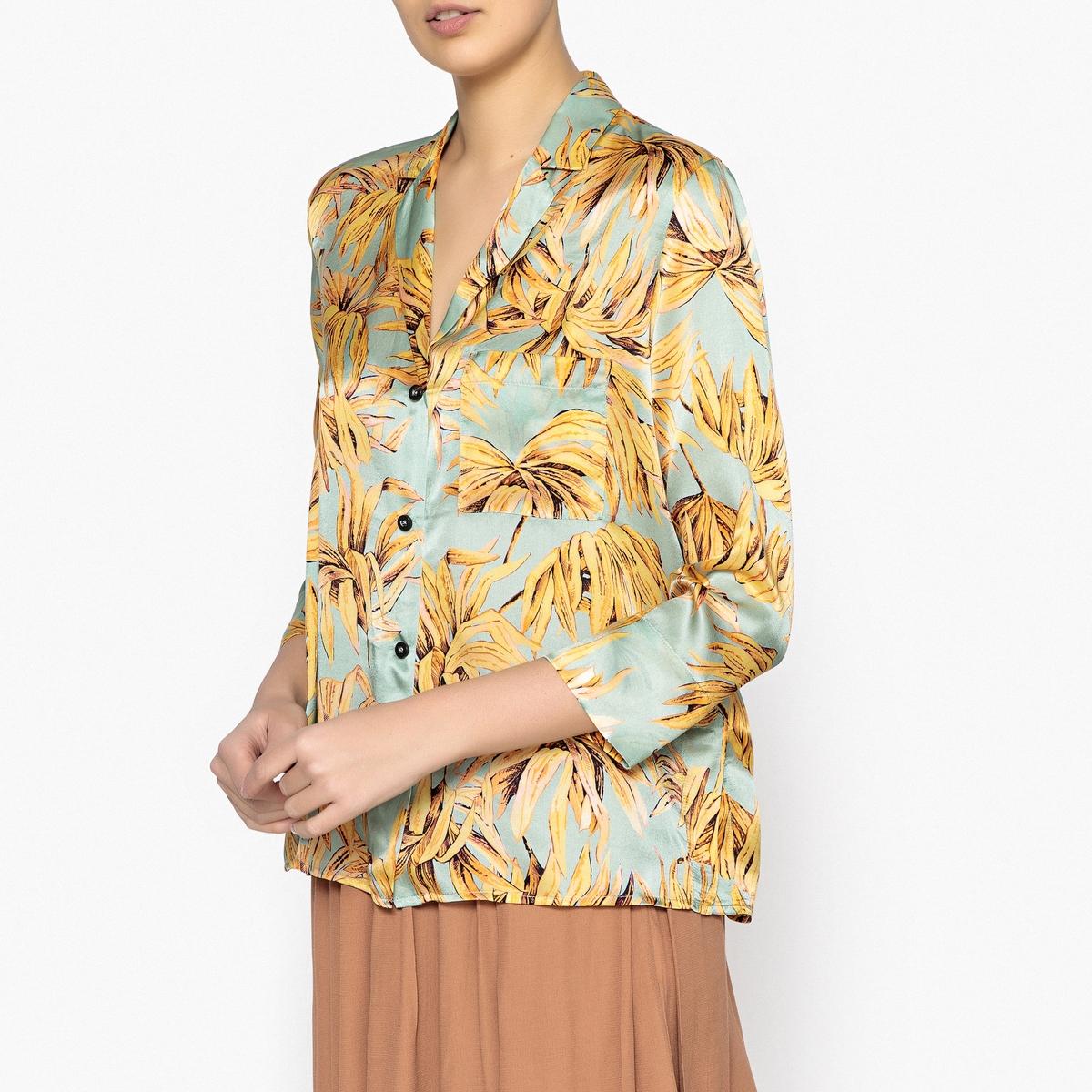 Рубашка-пижама из шелка с принтомОписание:Рубашка с принтом и длинными рукавами POMANDERE. 100% шелк, в стиле пижамы . Широкий край рукава . Накладной карман на груди и шлица с каждой стороны .Детали •  Длинные рукава •  Покрой бойфренд, свободный •  Воротник-поло, рубашечный •  Рисунок-принтСостав и уход •  100% шелк •  Следуйте советам по уходу, указанным на этикетке •  Длина : ок.61 см. для размера 36<br><br>Цвет: зеленый