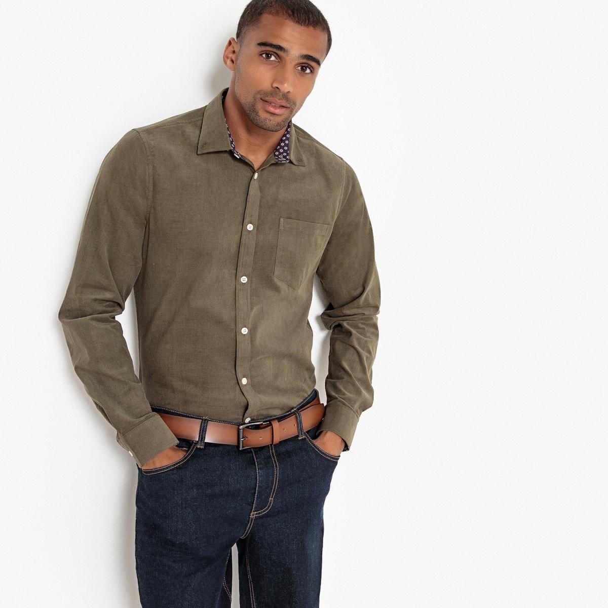 Camisa recta de terciopelo, manga larga