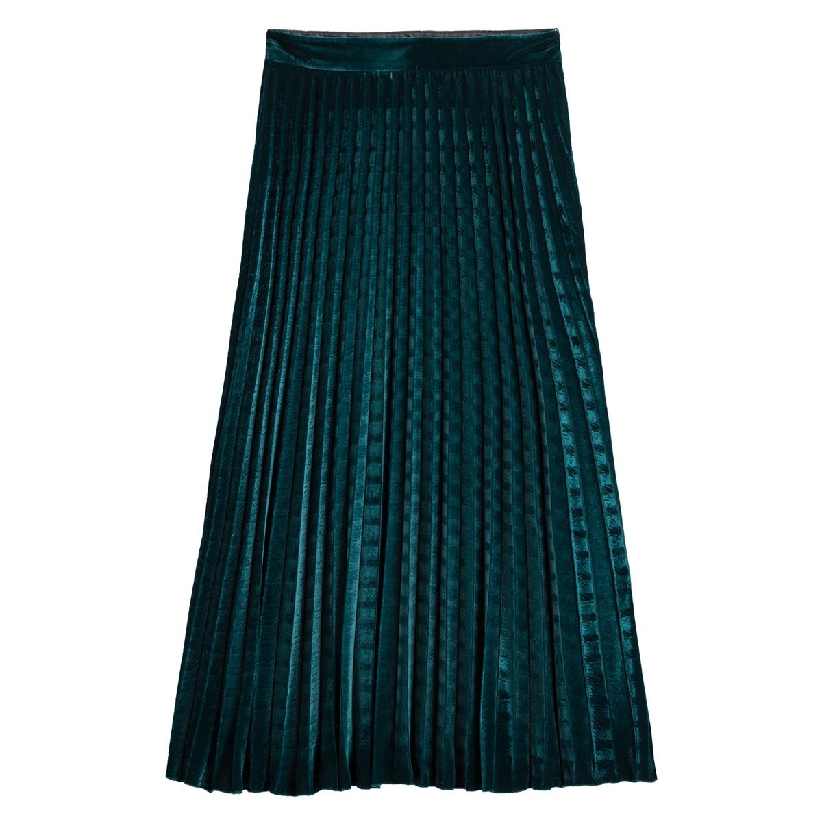 Falda plisada larga de terciopelo