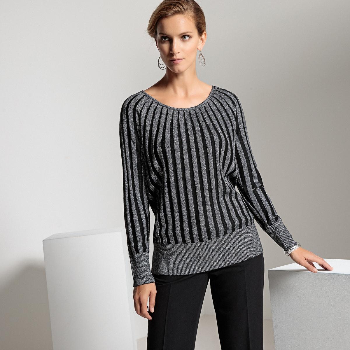 Пуловер La Redoute С круглым вырезом из тонкого трикотажа 50/52 (FR) - 56/58 (RUS) черный блузка la redoute с круглым вырезом без рукавов 50 fr 56 rus черный