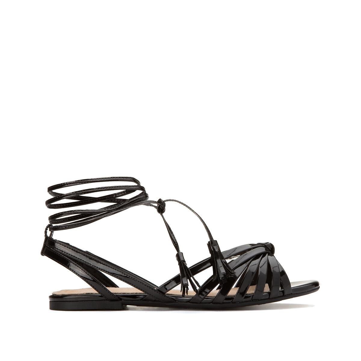 цена Босоножки La Redoute С ремешками на плоском каблуке 39 черный онлайн в 2017 году