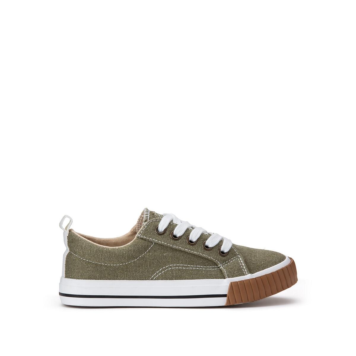 Кеды LaRedoute Тканевые на шнуровке размеры 26-39 28 зеленый кеды laredoute высокие тканевые на шнуровке 39 белый