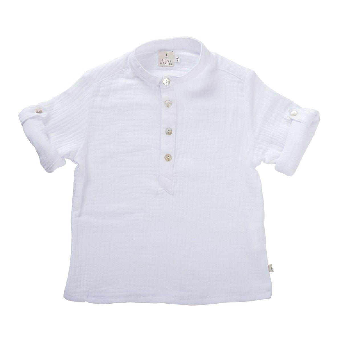 Chemise garçon col Mao tendance 6mois-12ans