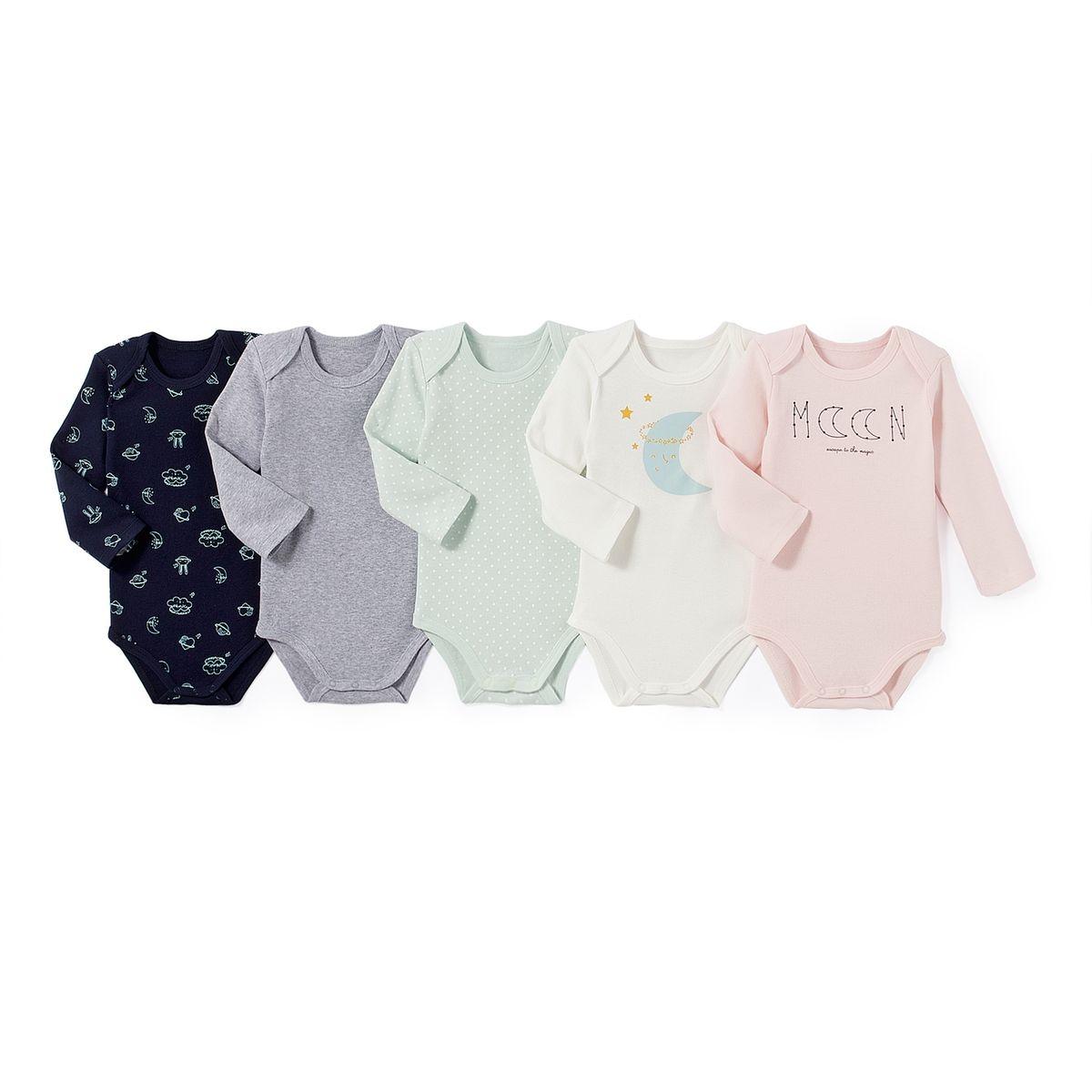 Lot de 5 bodies manches longues (9 mois). Lot 5 bodies manches longues coton  ans imprimé multicolore LA REDOUTE COLLECTIONS ... 0ab095968c4