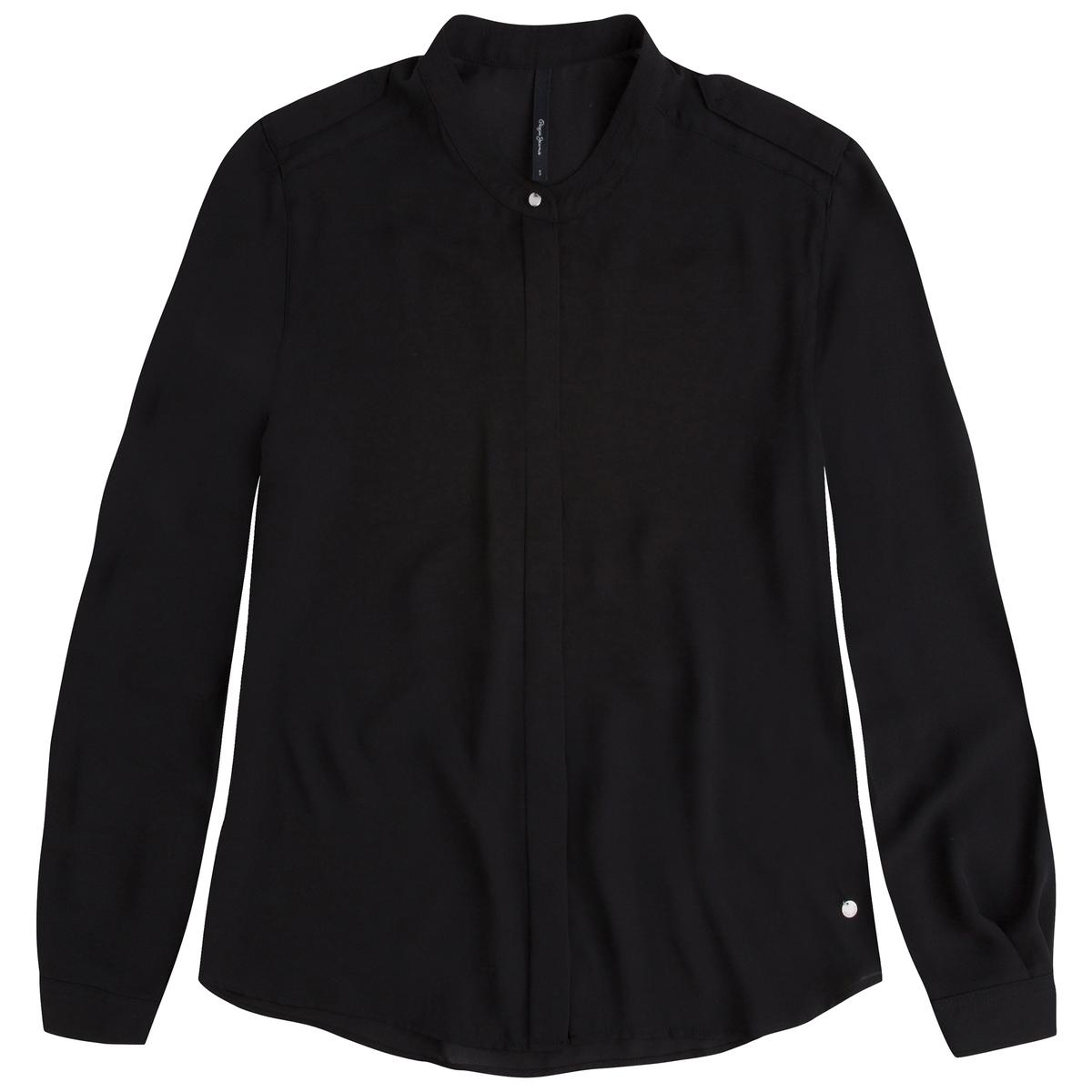 Рубашка с рисунком в клетку SISY, длинный рукавРубашка с длинным рукавом SISY от PEPE JEANS. Прямой покрой. Воротник-стойка. Супатная застежка на пуговицы.  Состав и описаниеМарка: PEPE JEANS.Модель: SISY.Материал: 100% полиэстер.<br><br>Цвет: черный<br>Размер: XL