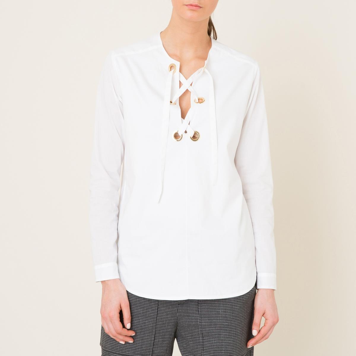 Блузка со шнуровкойСостав и описаниеМатериал : 100% хлопок.Марка : LAURENCE BRAS<br><br>Цвет: белый,темно-синий