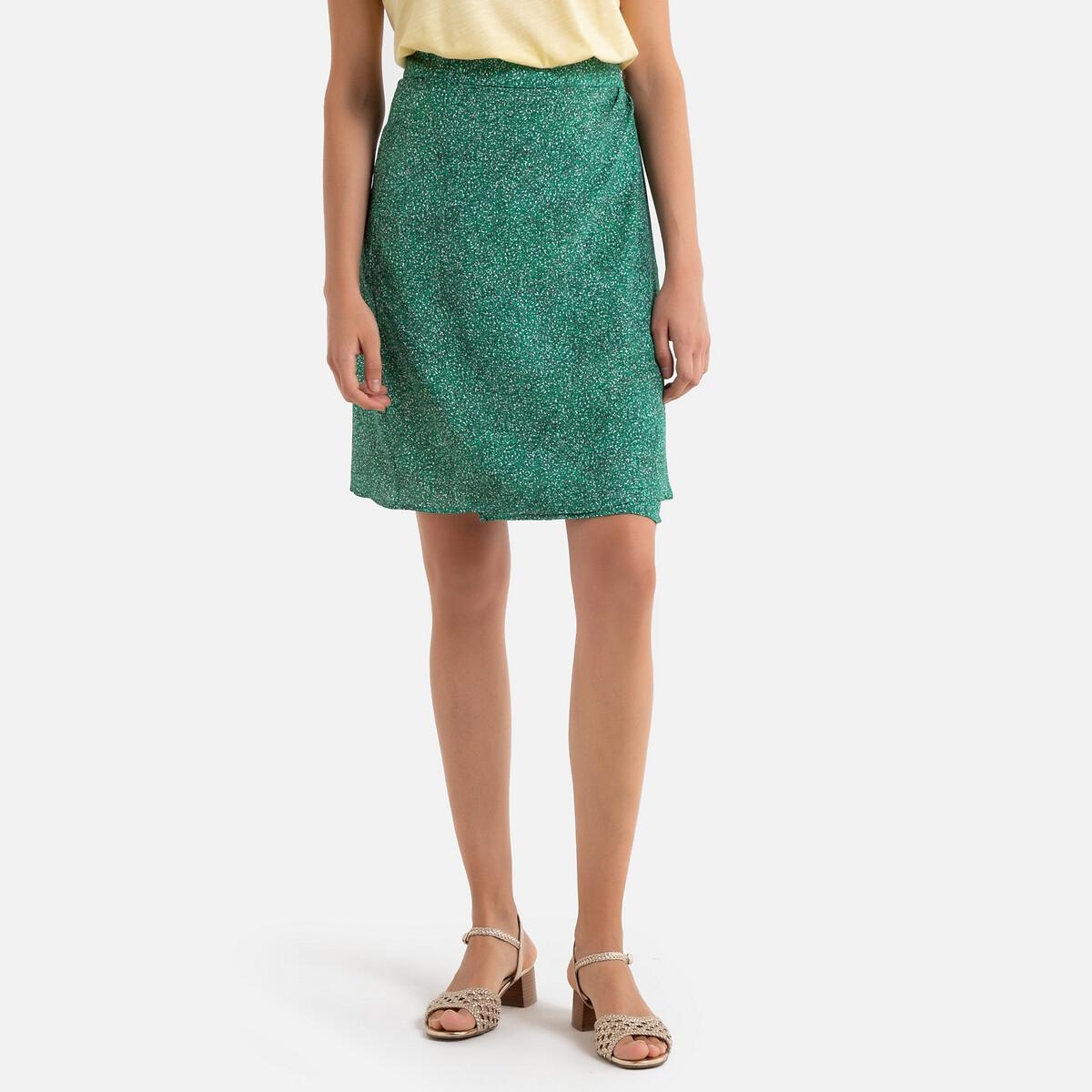 Юбка La Redoute Короткая с запахом PAOLA 42 (FR) - 48 (RUS) зеленый юбка la redoute короткая прямая из ткани с пропиткой 40 fr 46 rus черный