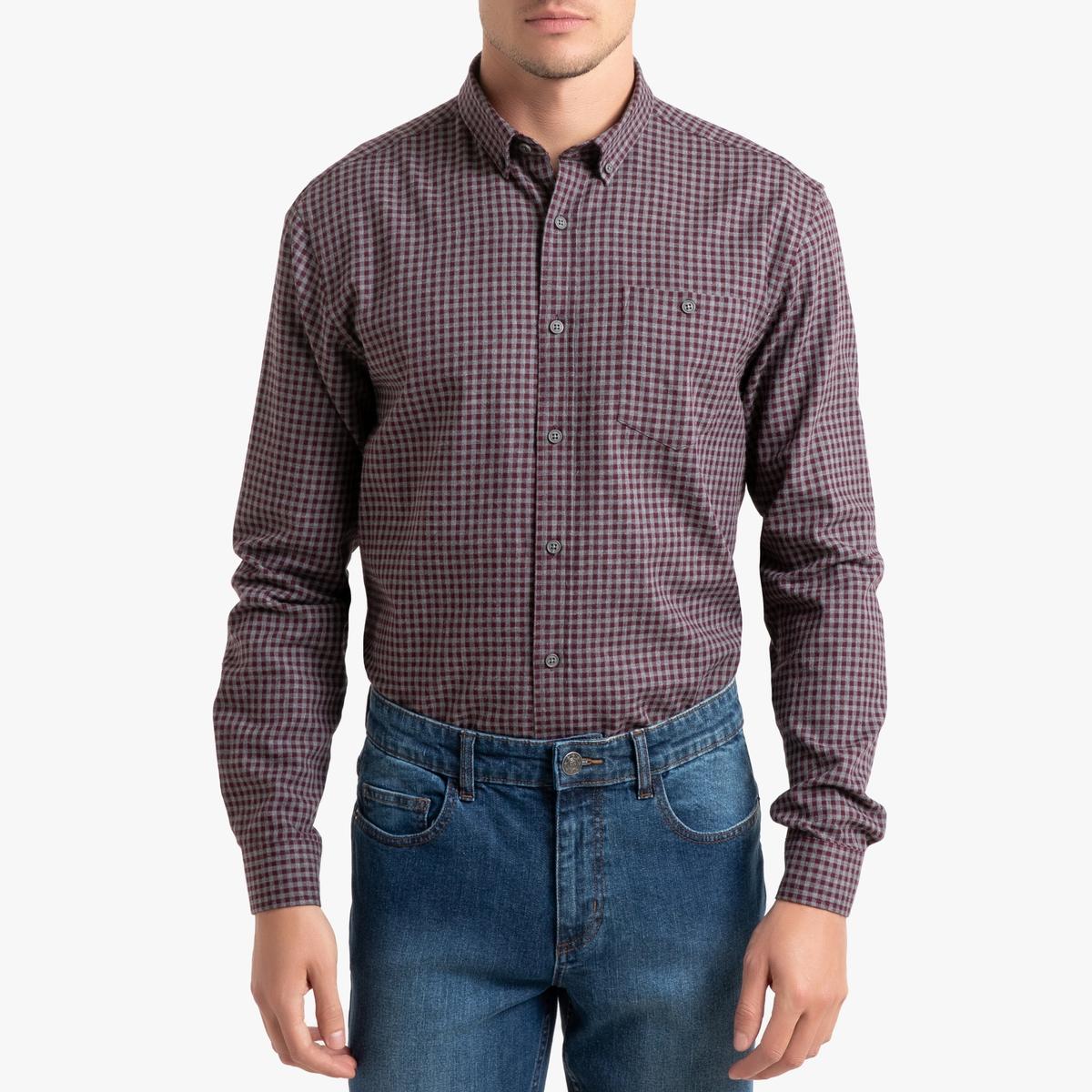 Рубашка La Redoute Прямого покроя в клетку с длинными рукавами 37/38 серый рубашка la redoute прямого покроя в клетку с длинными рукавами 45 46 серый
