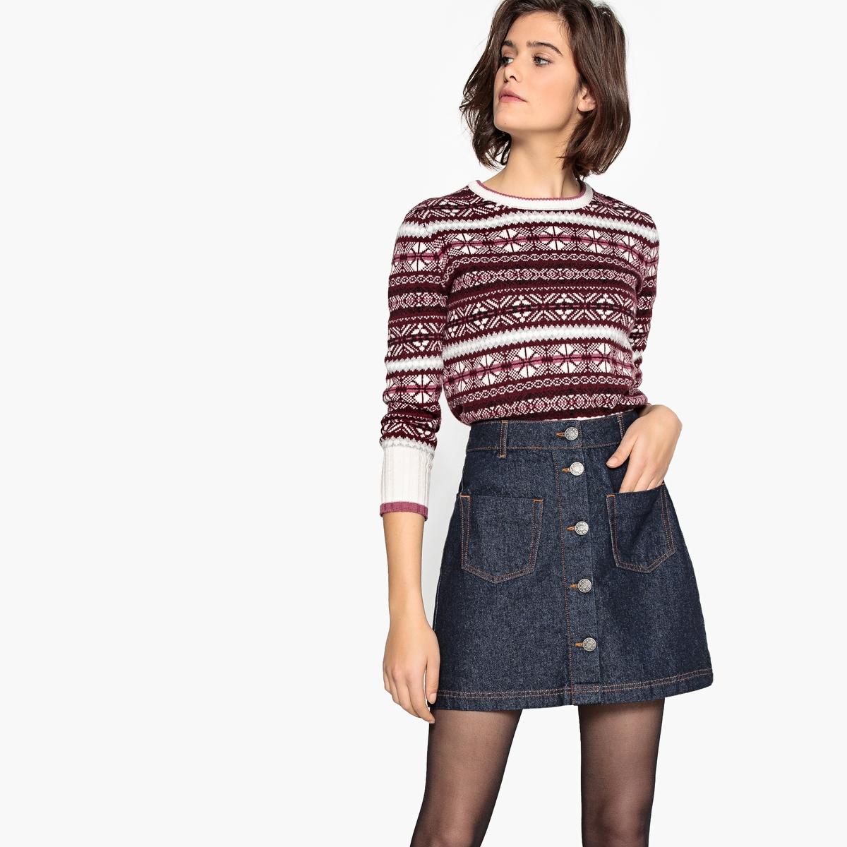 Пуловер La Redoute С круглым вырезом и жаккардовым рисунком из полушерстяной ткани XL красный пуловер la redoute с круглым вырезом из шерсти мериноса pascal 3xl черный