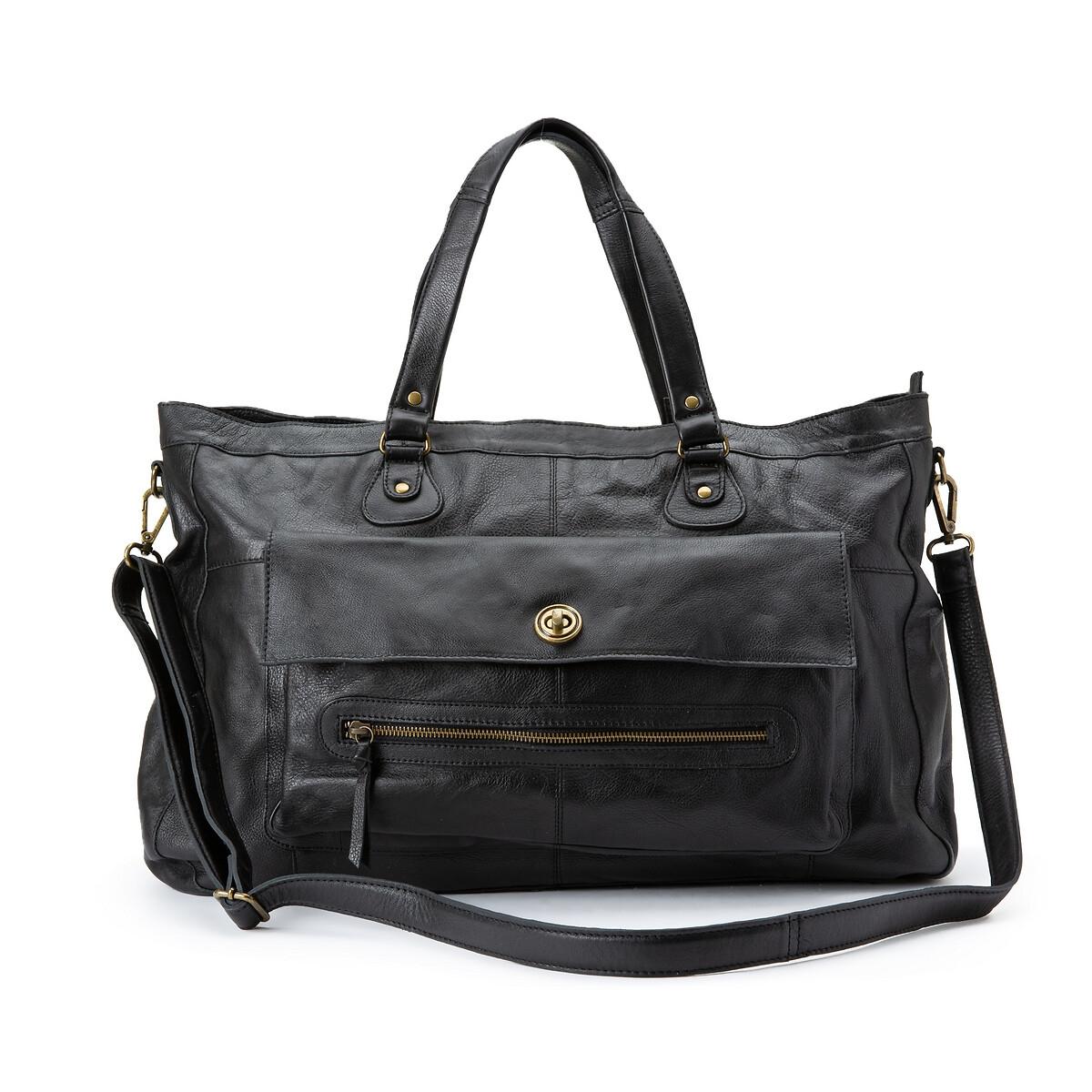 Сумка La Redoute С ручками кожаная Totally Royal единый размер черный сумка la redoute кожаная sunny foil единый размер синий