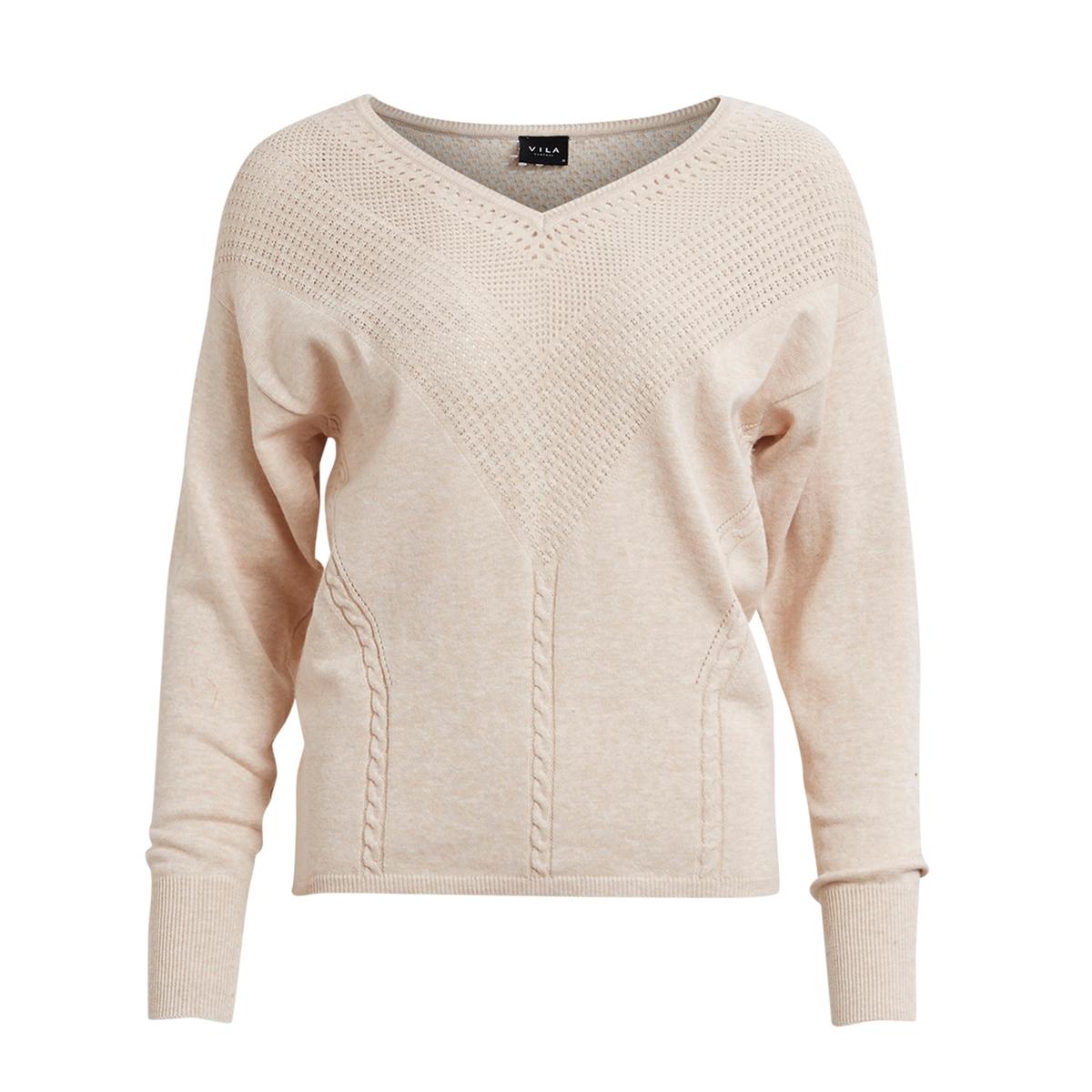 Пуловер с ажурным вырезомМатериал : 100% хлопокДлина рукава : Длинные рукава Форма воротника : V-образный вырез Покрой пуловера : СтандартныйРисунок : Однотонная модель<br><br>Цвет: розово-бежевый<br>Размер: M