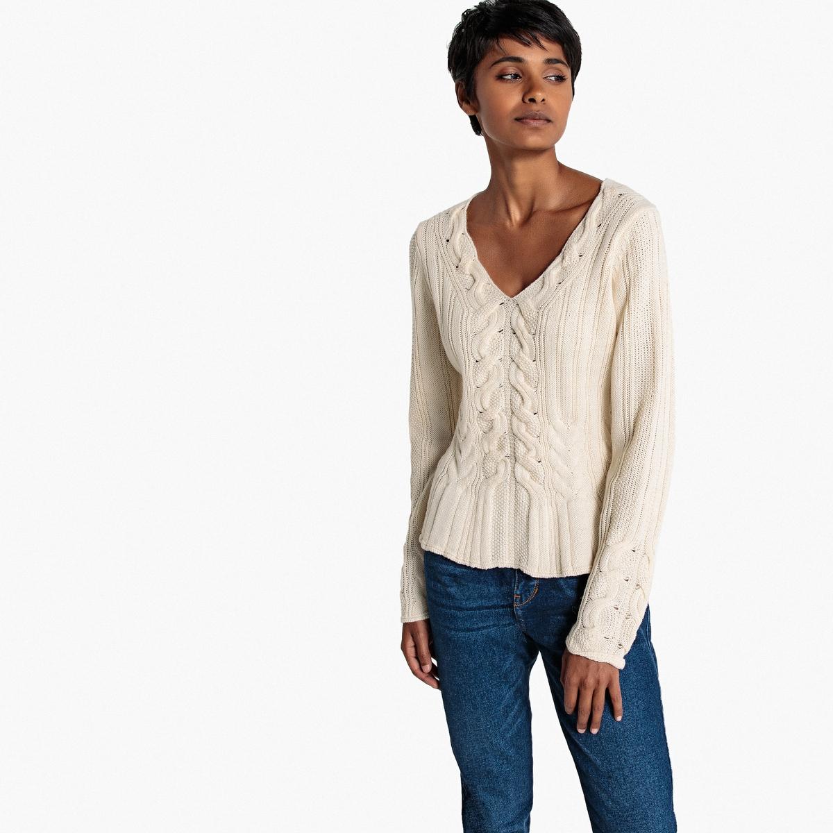 Пуловер с V-образным вырезом и узором косы пуловер из плотного трикотажа с v образным вырезом