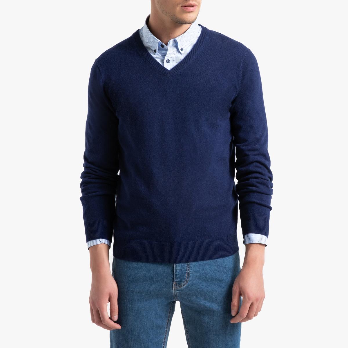 Пуловер La Redoute С V-образным вырезом из кашемира Paul S синий ic men коричневый пуловер из кашемира