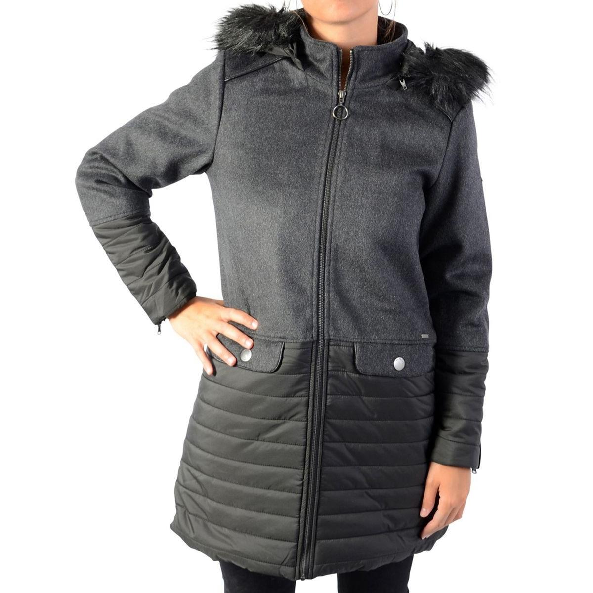 Куртка La Redoute Средней длины с капюшоном из искусственного меха XS серый