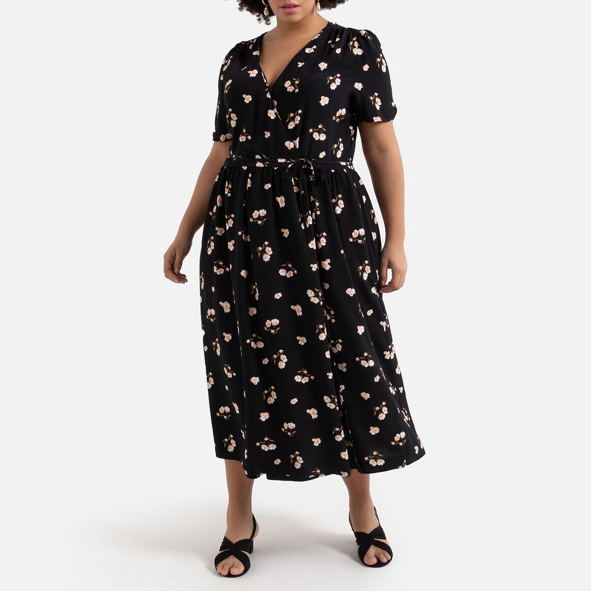 Платье La Redoute С запахом длинное с цветочным принтом 52 (FR) - 58 (RUS) разноцветный