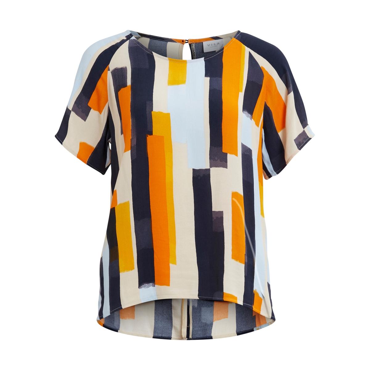 Блузка с короткими рукавамиМатериал : 100% вискоза   Покрой : прямой  Длина рукава : Короткие рукава  Форма воротника : Круглый вырез  Длина блузки : стандартная  Покрой : прямой  Рисунок : однотонная модель<br><br>Цвет: оранжевый/ синий<br>Размер: M.S