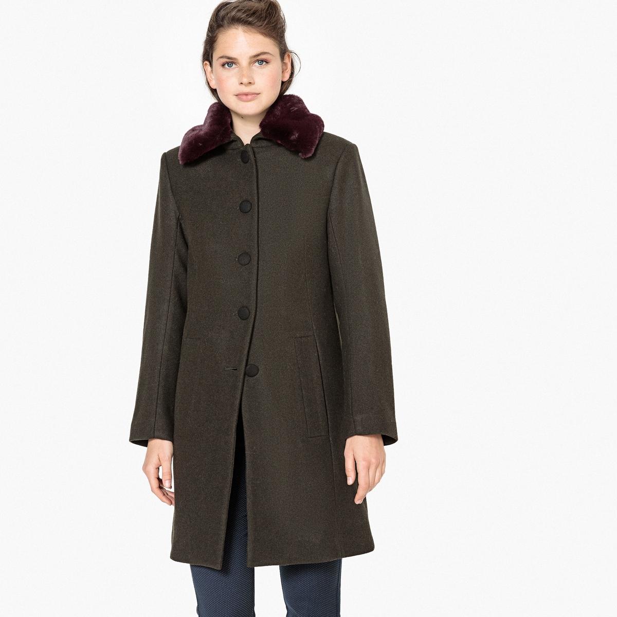 цены Пальто La Redoute Из полушерстяной ткани с воротником из искусственного меха 38 (FR) - 44 (RUS) зеленый