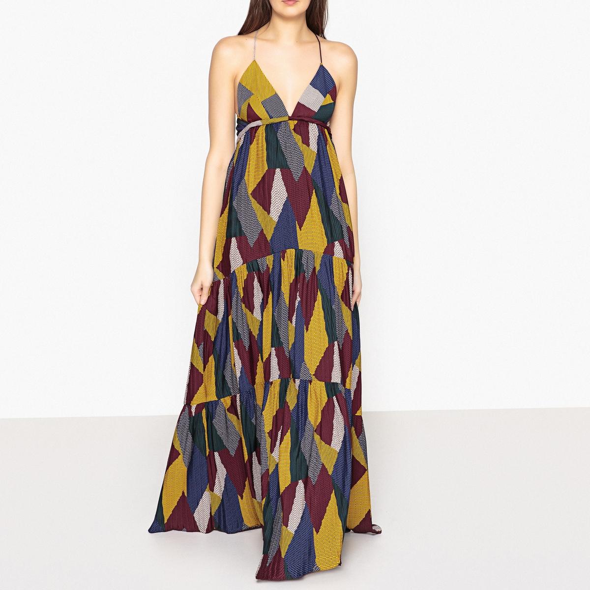 Платье длинное с рисунком WEAVEОписание:Длинное платье с рисунком от BA&amp;SH - модель WEAVE. Длинный широкий низ. Треугольный вырез на груди с небольшим кантом. Тонкие перекрещенные сзади завязки. Подкладка из гофрированной ткани.Детали •  Форма : расклешенная •  Укороченная модель •  Тонкие бретели    •   V-образный вырез •  Рисунок-принтСостав и уход •  100% полиэстер •  Следуйте советам по уходу, указанным на этикеткеДлина : более 120 см для размера S (под грудью)<br><br>Цвет: разноцветный