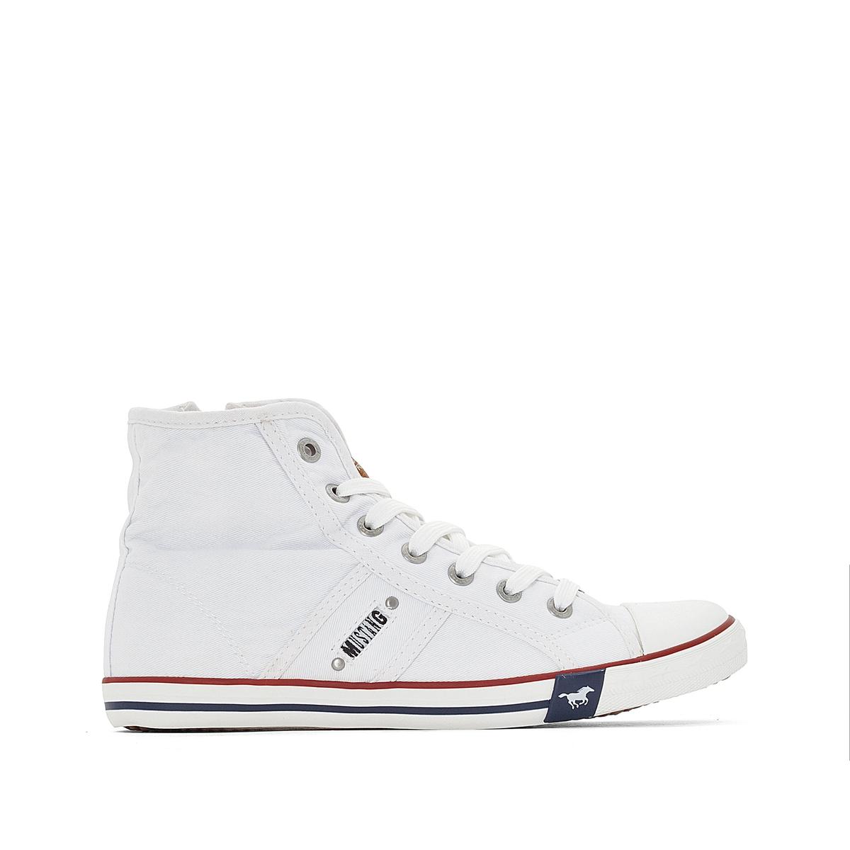Кроссовки высокие из тканиВерх : хлопок       Подкладка : хлопок       Стелька : хлопок       Подошва : каучук       Застежка : Шнуровка<br><br>Цвет: белый