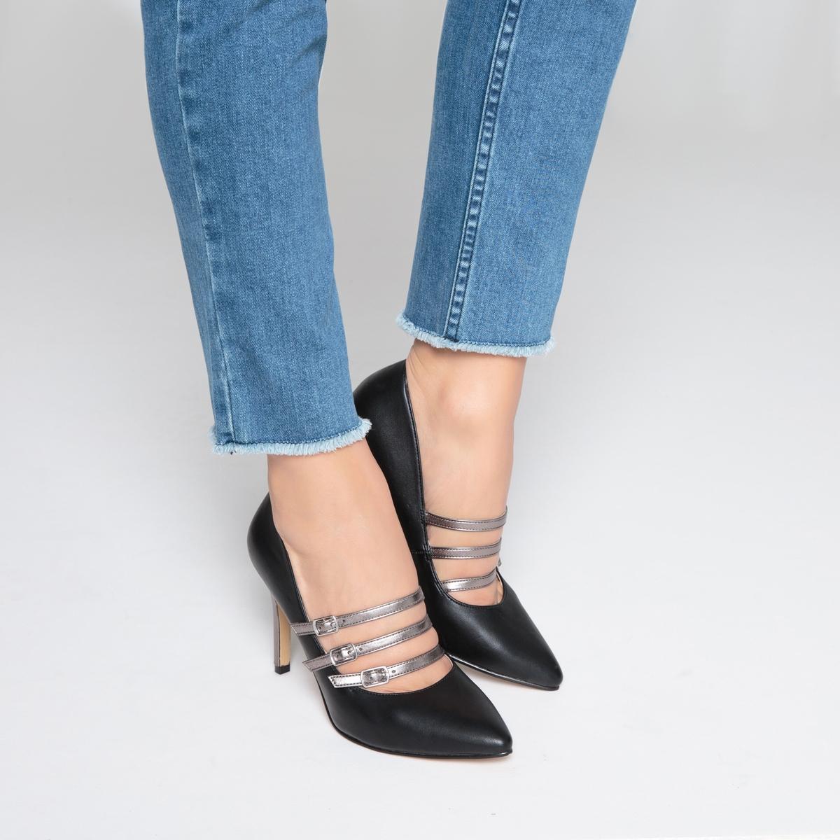 Туфли с тройным ремешком на металлизированном каблуке