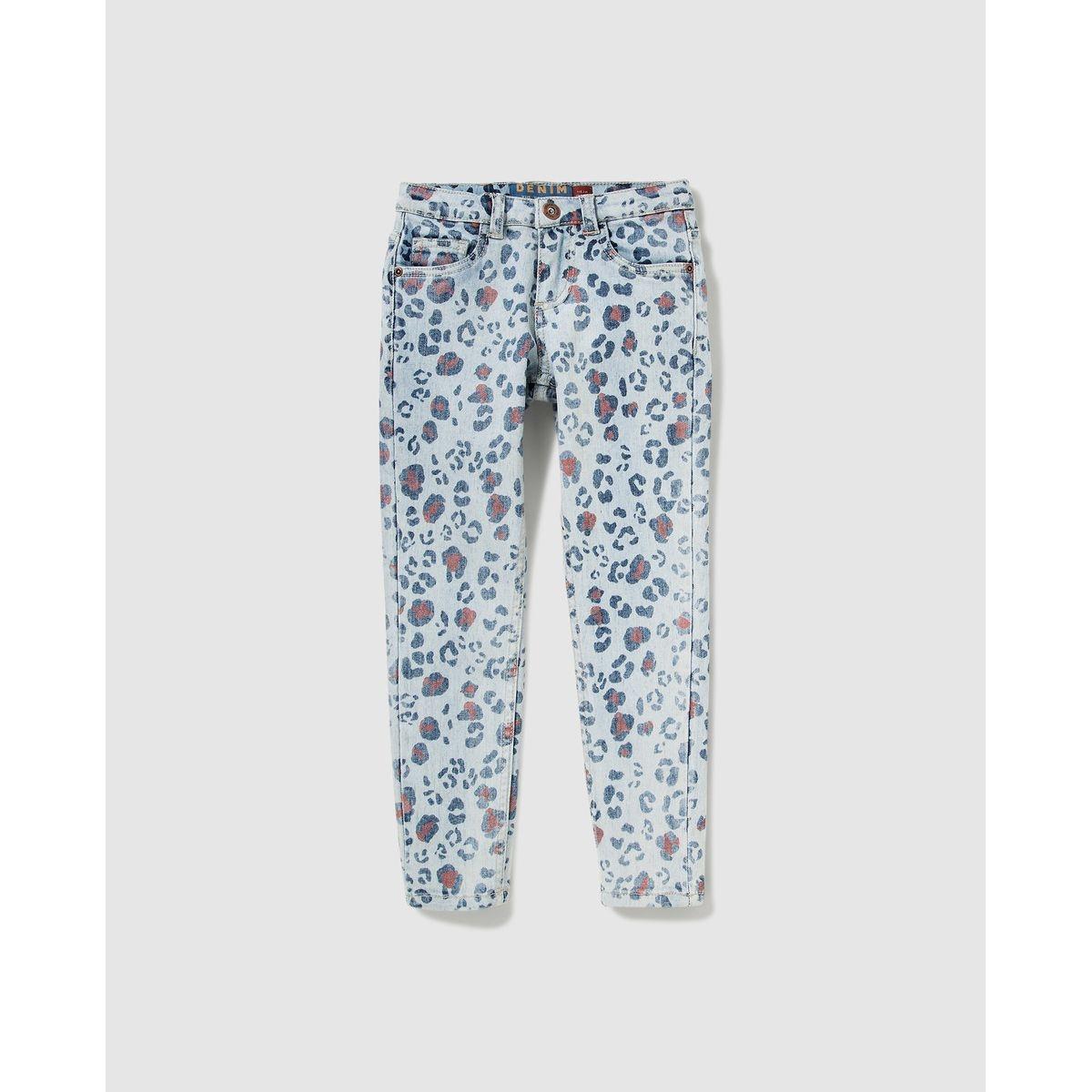 Pantalon  en jean à imprimé animal