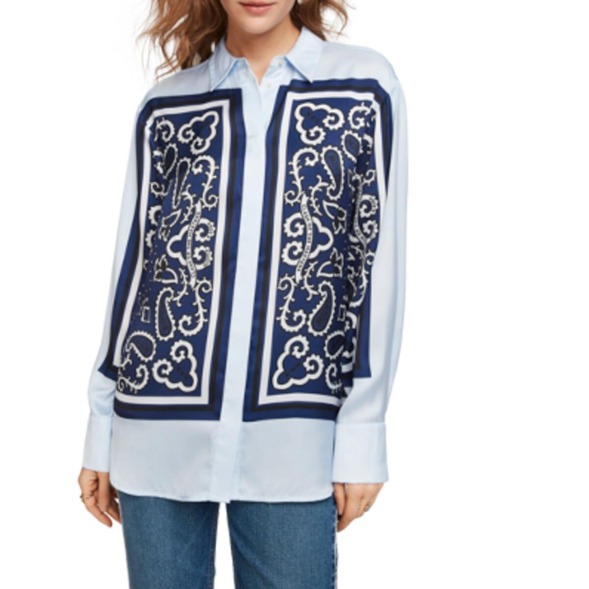 Рубашка La Redoute С принтом с длинными рукавами S синий цена 2017