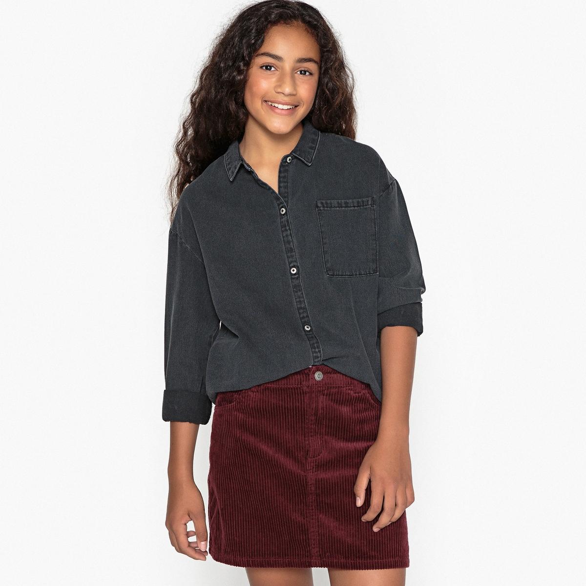 Рубашка из денима черная 10-16 лет