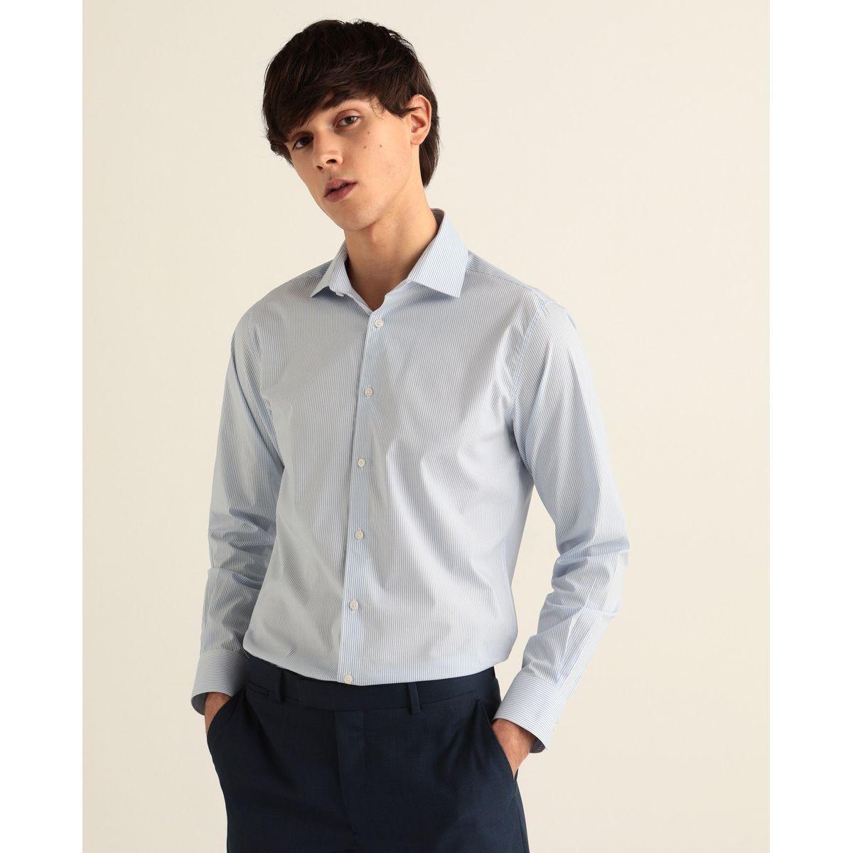 Chemise slim habillée  repassage facile  rayée bleu
