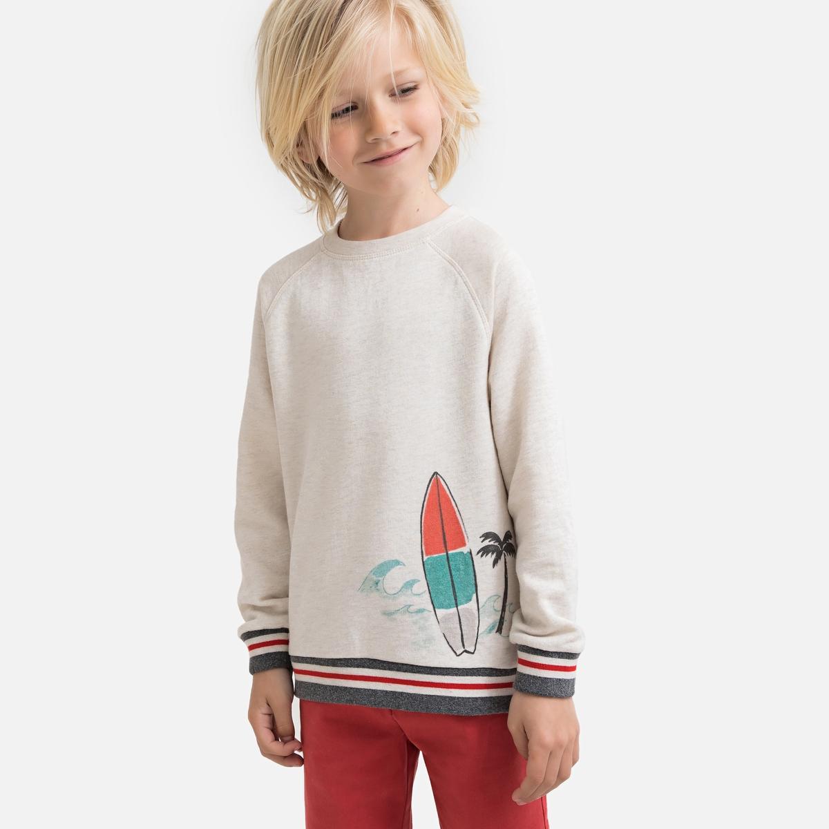 Свитшот La Redoute С круглым вырезом из мольтона 3 года - 94 см бежевый футболка la redoute с круглым вырезом и принтом спереди 3 года 94 см серый